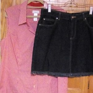Top and jean skirt.